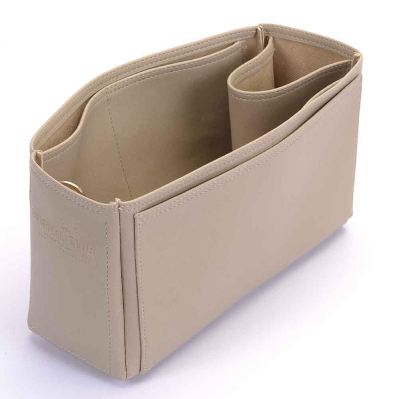 delightful pm newest 2015 model deluxe leather handbag organizer in dark beige color