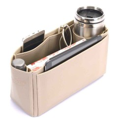 Garden Party 30 Vegan Leather Handbag Organizer in Dark Beige Color