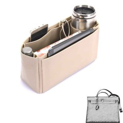 Herbag 31 Deluxe Leather Handbag Organizer in Dark Beige Color