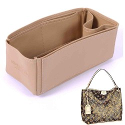 Graceful PM Deluxe Leather Handbag Organizer in Dark Beige Color