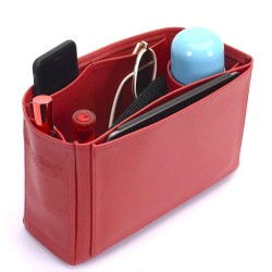 Melie Deluxe Leather Handbag Organizer in Cherry Red Color