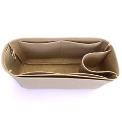 Melie Deluxe Leather Handbag Organizer in Dark Beige Color