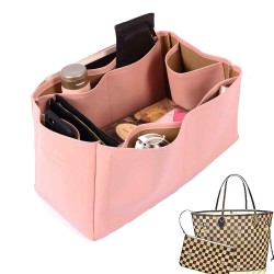 Neverfull GM Vegan Leather Handbag Organizer in Blush Pink Color