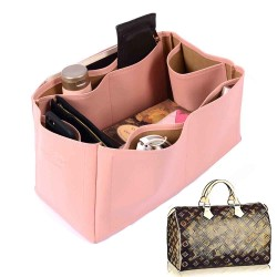 Speedy 40 Deluxe Leather Handbag Organizer in Blush Pink Color