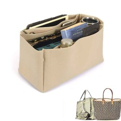 Saint Louis GM and Anjou GM Vegan Leather Handbag Organizer in Dark Beige Color