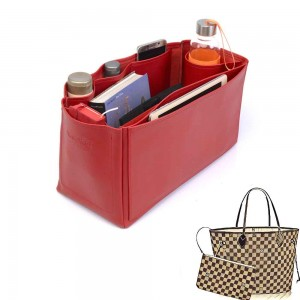 Neverfull GM Vegan Leather Handbag Organizer in Cherry Red Color