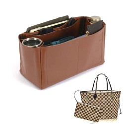 Neverfull GM Vegan Leather Handbag Organizer in Brown Color
