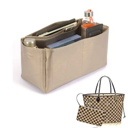Neverfull GM Deluxe Leather Handbag Organizer in Gold Beige Color