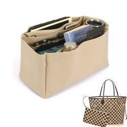 Neverfull GM Deluxe Leather Handbag Organizer in Dark Beige Color