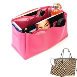 Neverfull GM Vegan Leather Handbag Organizer in Fuchsia Color