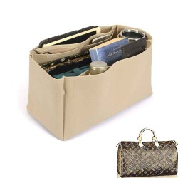 Speedy 40 Deluxe Leather Handbag Organizer in Dark Beige Color