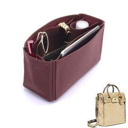 Medium Cara Deluxe Leather Handbag Organizer in Maroon Color