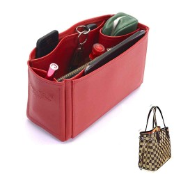 Neverfull PM Vegan Leather Handbag Organizer in Cherry Red Color