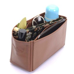 Medium Cara Deluxe Leather Handbag Organizer in Brown Color