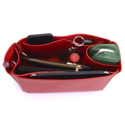 Neverfull PM Deluxe Leather Handbag Organizer in Cherry Red Color