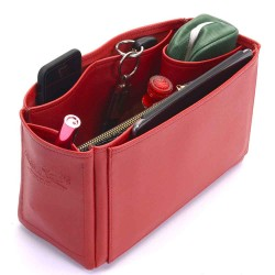 Medium Cara Deluxe Leather Handbag Organizer in Cherry Red Color