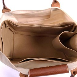Le Pliage Large and Neo Large Vegan Leather Handbag Organizer in Dark Beige Color