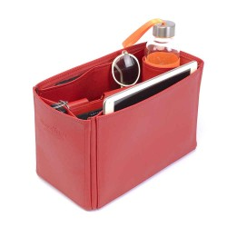Celine Trapeze Large Vegan Leather Handbag Organizer in Cherry Red Color