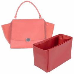 Celine Trapeze Large Vegan Leather Handbag Organizer in Cherry Red Color