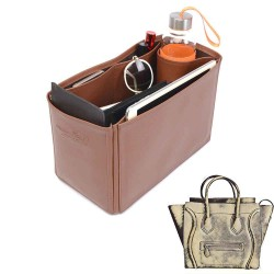 Celine Mini Luggage Bag Vegan Leather Handbag Organizer in Brown Color