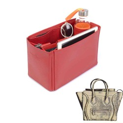 Celine Mini Luggage Bag Deluxe Leather Handbag Organizer in Cherry Red Color