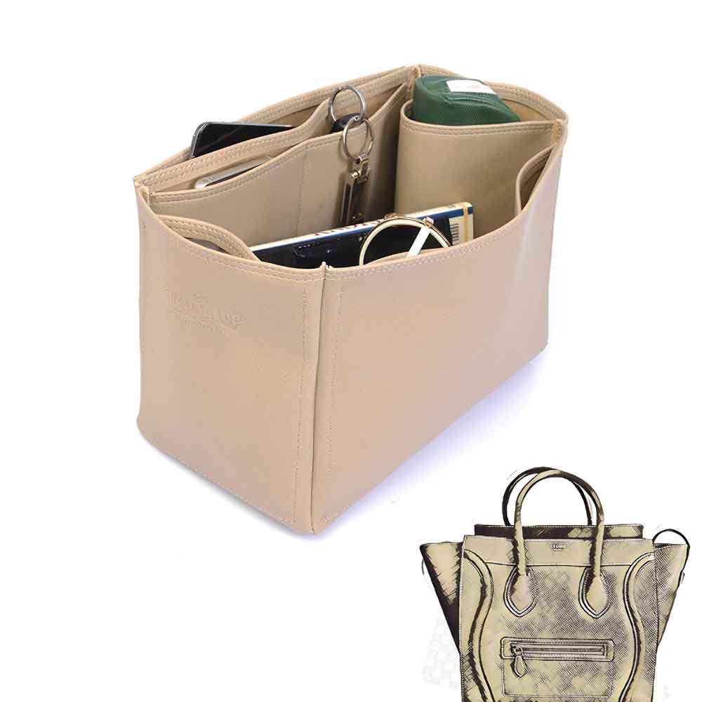 Celine Mini Luggage Bag Deluxe Leather Handbag Organizer in Dark Beige Color