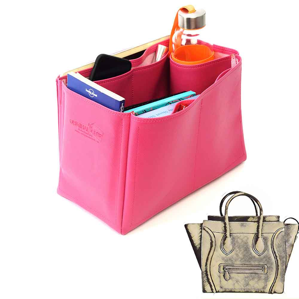 Celine Mini Luggage Bag Deluxe Leather Handbag Organizer in Fuchsia Color