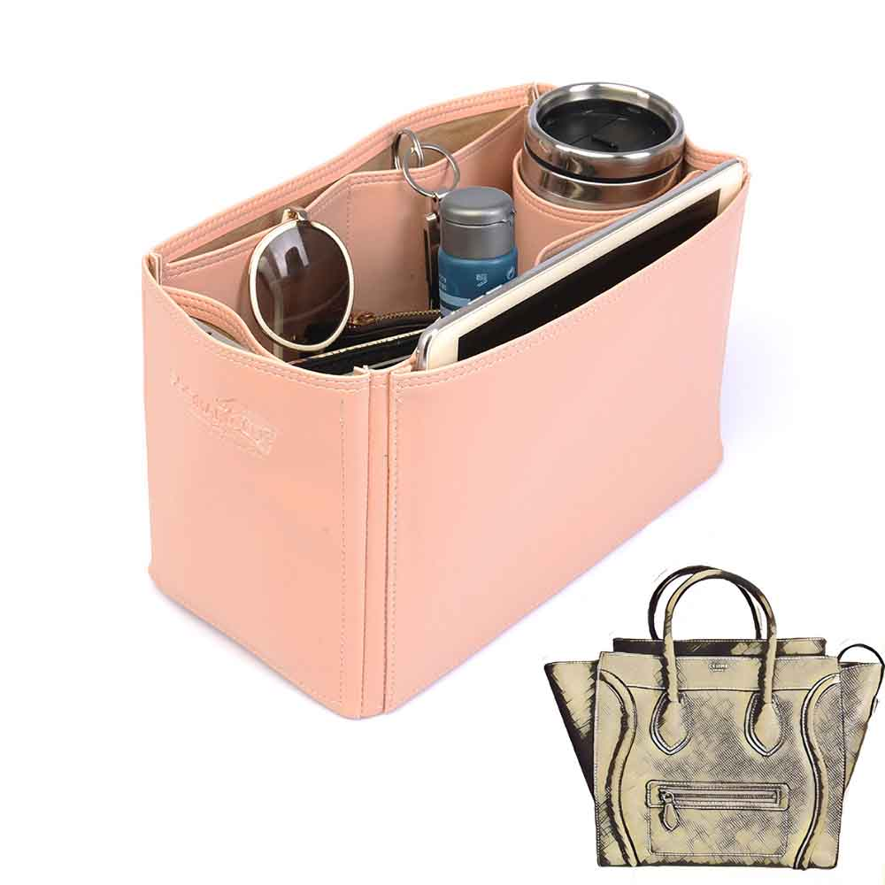 Celine Mini Luggage Bag Deluxe Leather Handbag Organizer in Blush Pink Color