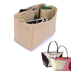 Le Pliage Large and Neo Large Deluxe Leather Handbag Organizer in Dark Beige Color
