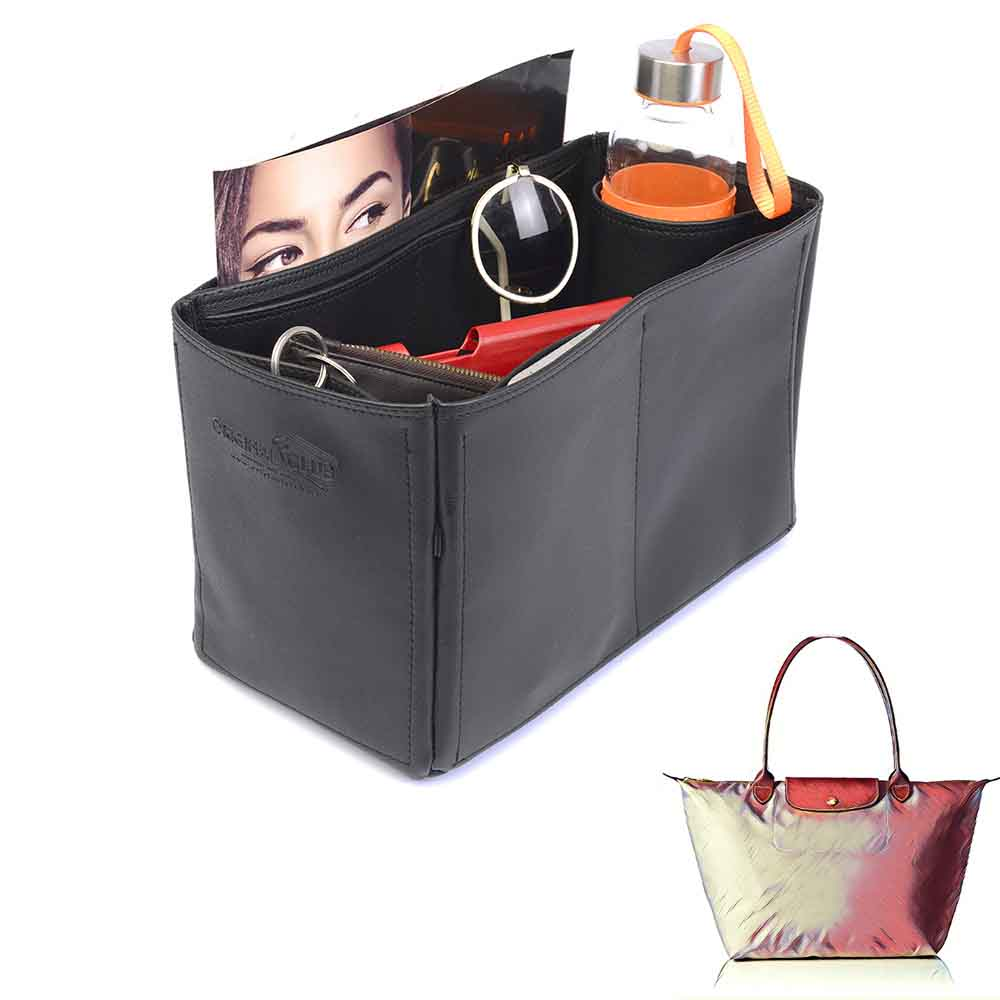 Le Pliage Large and Neo Large Deluxe Leather Handbag Organizer in Black Color
