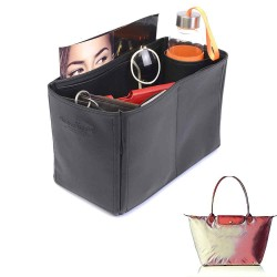 Le Pliage Large and Neo Large Vegan Leather Handbag Organizer in Black Color