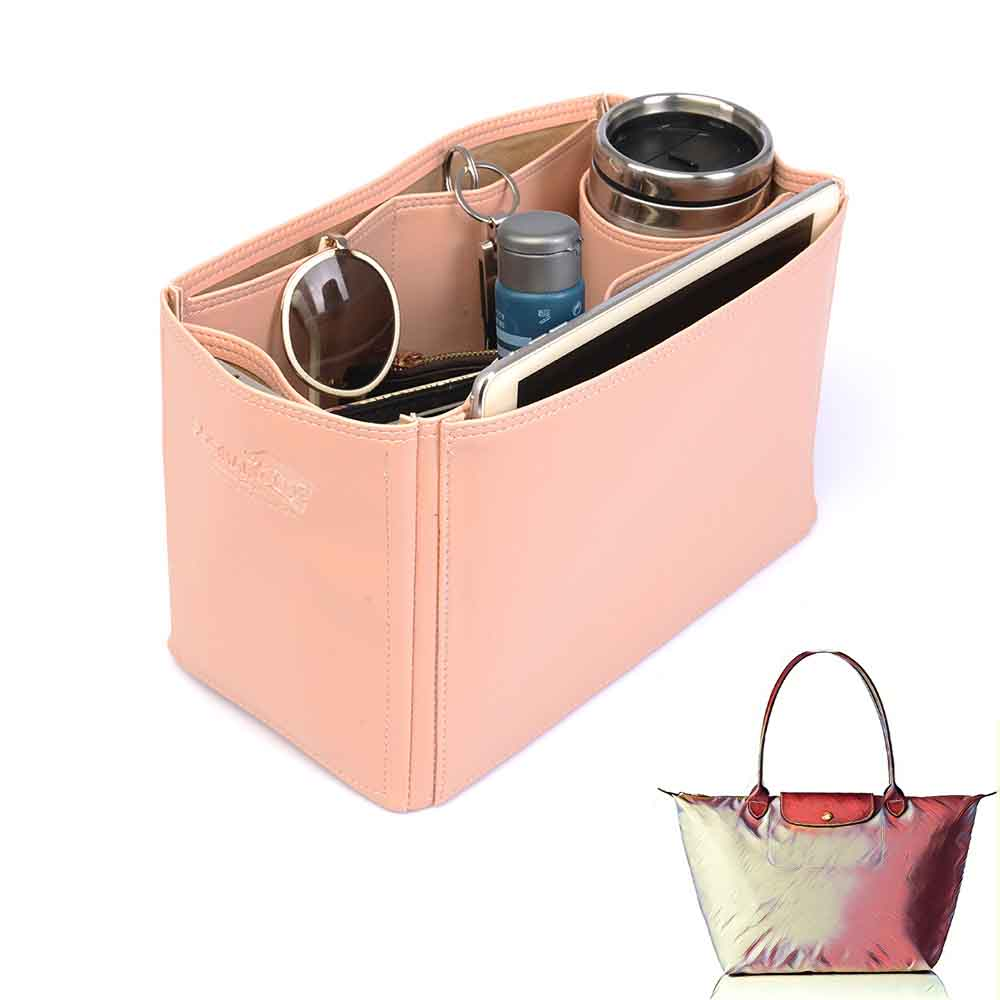 Le Pliage Large and Neo Large Deluxe Leather Handbag Organizer in Blush Pink Color