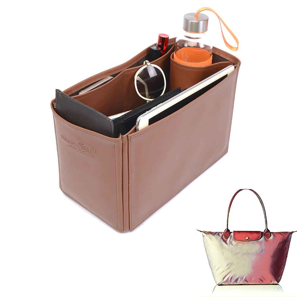 Le Pliage Large and Neo Large Deluxe Leather Handbag Organizer in Brown Color