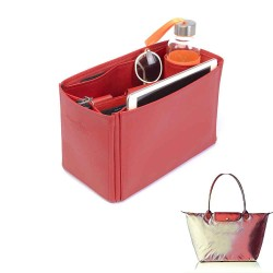 Le Pliage Large and Neo Large Deluxe Leather Handbag Organizer in Cherry Red Color