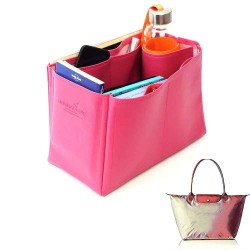 Le Pliage Large and Neo Large Vegan Leather Handbag Organizer in Fuchsia Color