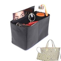 Neverfull MM Deluxe Leather Handbag Organizer in Black Color