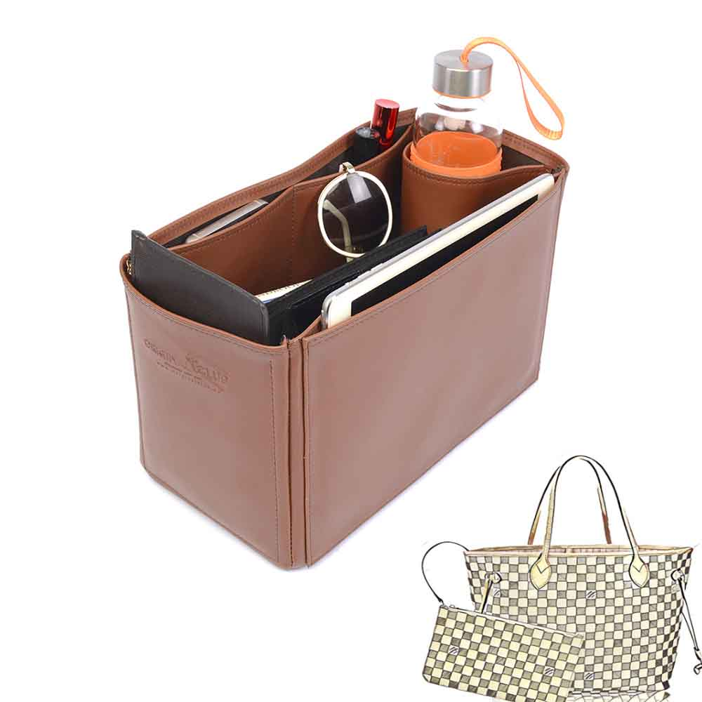 Neverfull MM Deluxe Leather Handbag Organizer in Brown Color