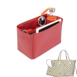 Neverfull MM Vegan Leather Handbag Organizer in Cherry Red Color