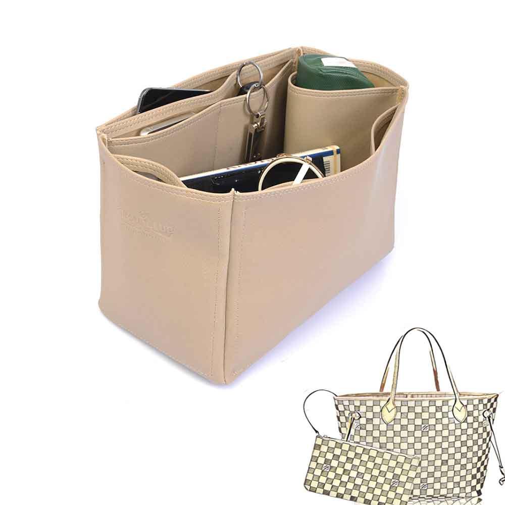 Neverfull MM Deluxe Leather Handbag Organizer in Dark Beige Color