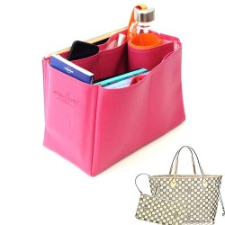 Neverfull MM Deluxe Leather Handbag Organizer in Fuchsia Color
