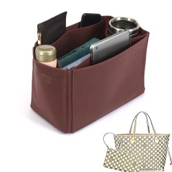 Neverfull MM Deluxe Leather Handbag Organizer in Maroon Color