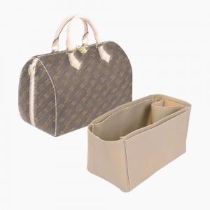 Speedy 30 Vegan Leather Handbag Organizer in Dark Beige Color