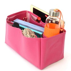 Iena MM Deluxe Leather Handbag Organizer in Fuchsia Color