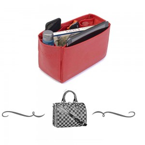 Speedy 25 Deluxe Leather Handbag Organizer in Cherry Red Color
