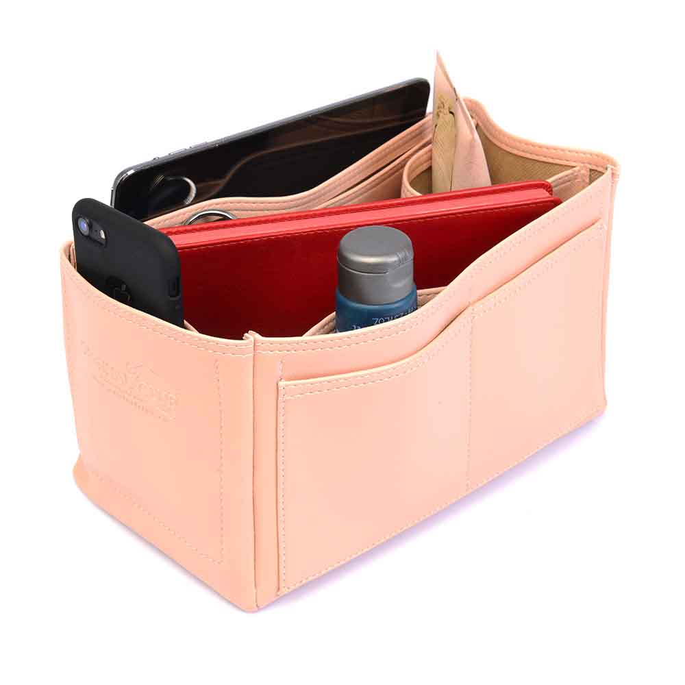 Le Pliage Small Handbag and Cuir Small Deluxe Leather Handbag Organizer in Blush Pink Color
