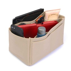 Speedy 25 Deluxe Leather Handbag Organizer in Dark Beige Color