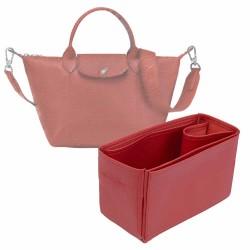 Le Pliage Small Handbag and Cuir Small Vegan Leather Handbag Organizer in Cherry Red Color
