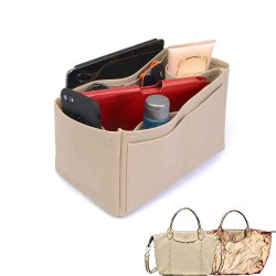 Le Pliage Small Handbag and Cuir Small Deluxe Leather Handbag Organizer in Dark Beige Color