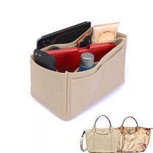 Le Pliage Small Handbag and Cuir Small Vegan Leather Handbag Organizer in Dark Beige Color