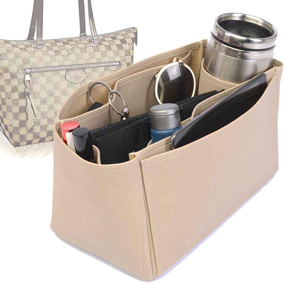 Iena MM Deluxe Leather Handbag Organizer in Dark Beige Color